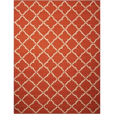 Portico Orange 8 ft. x 11 ft. Geometric Modern Indoor/Outdoor Area Rug