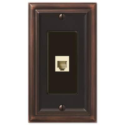 Continental 1 Gang Phone Metal Wall Plate - Aged Bronze