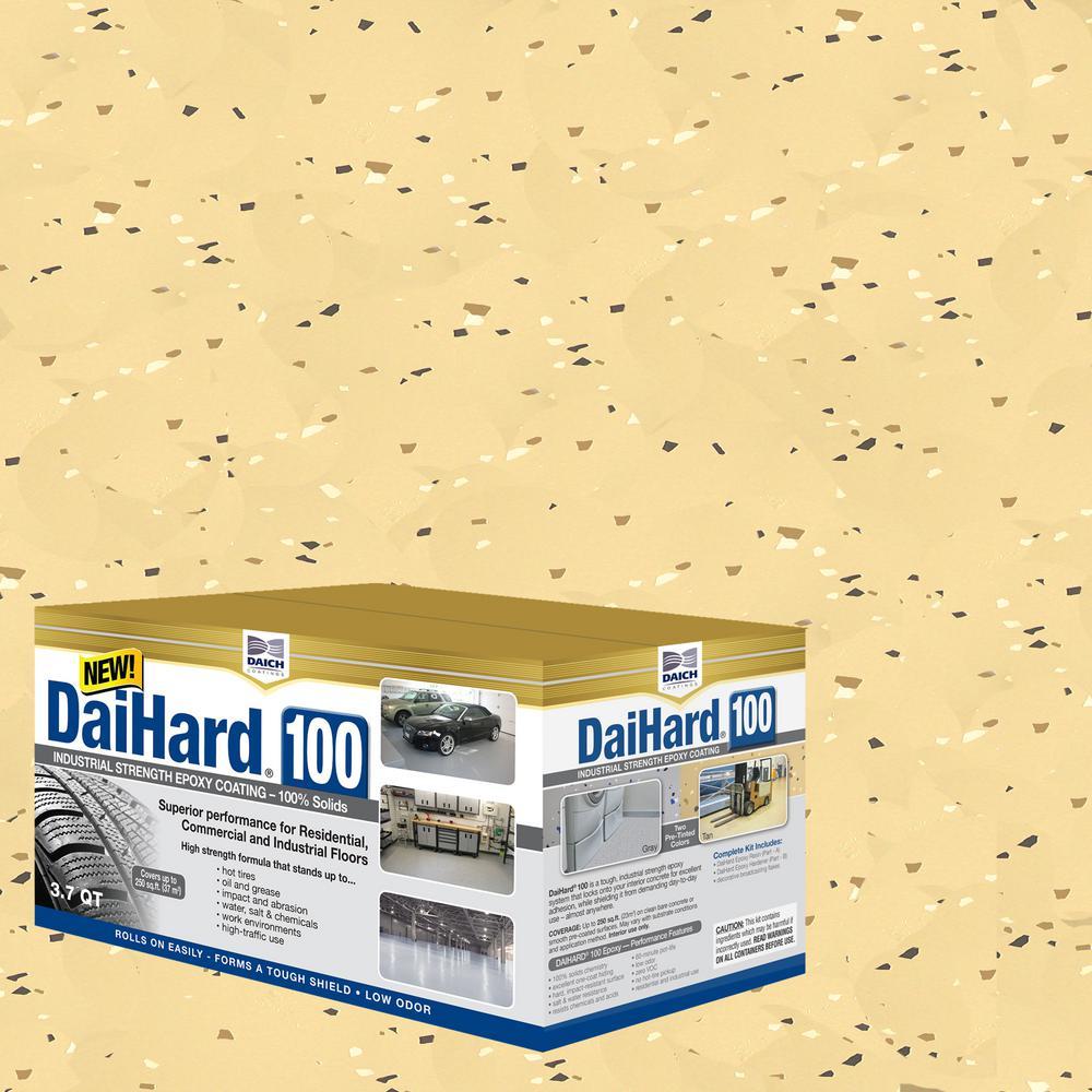 Industrial Strength 3.7 Qt. Tan Gloss 100% Solids Epoxy Concrete Floor Coating Kit