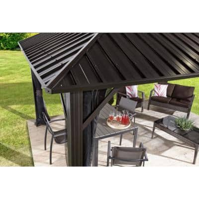 10 ft. D x 10 ft. W Genova Aluminum Gazebo with Galvanized Steel Roof Panels and Mosquito Netting
