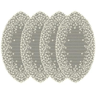 Blossom 22 in. Ecru Transitional Polyester Doilies (Set of 4)