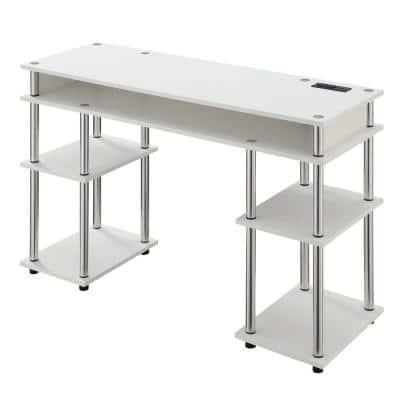 Designs2Go 47.25 in. W White No Tools Student Desk with Charging Station