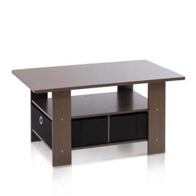 Home 32 in. Dark Brown/Black Medium Rectangle Wood Coffee Table with Drawers