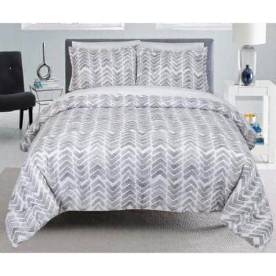Painted Chevron Stripes and Plaids Full and Queen Comforter Set