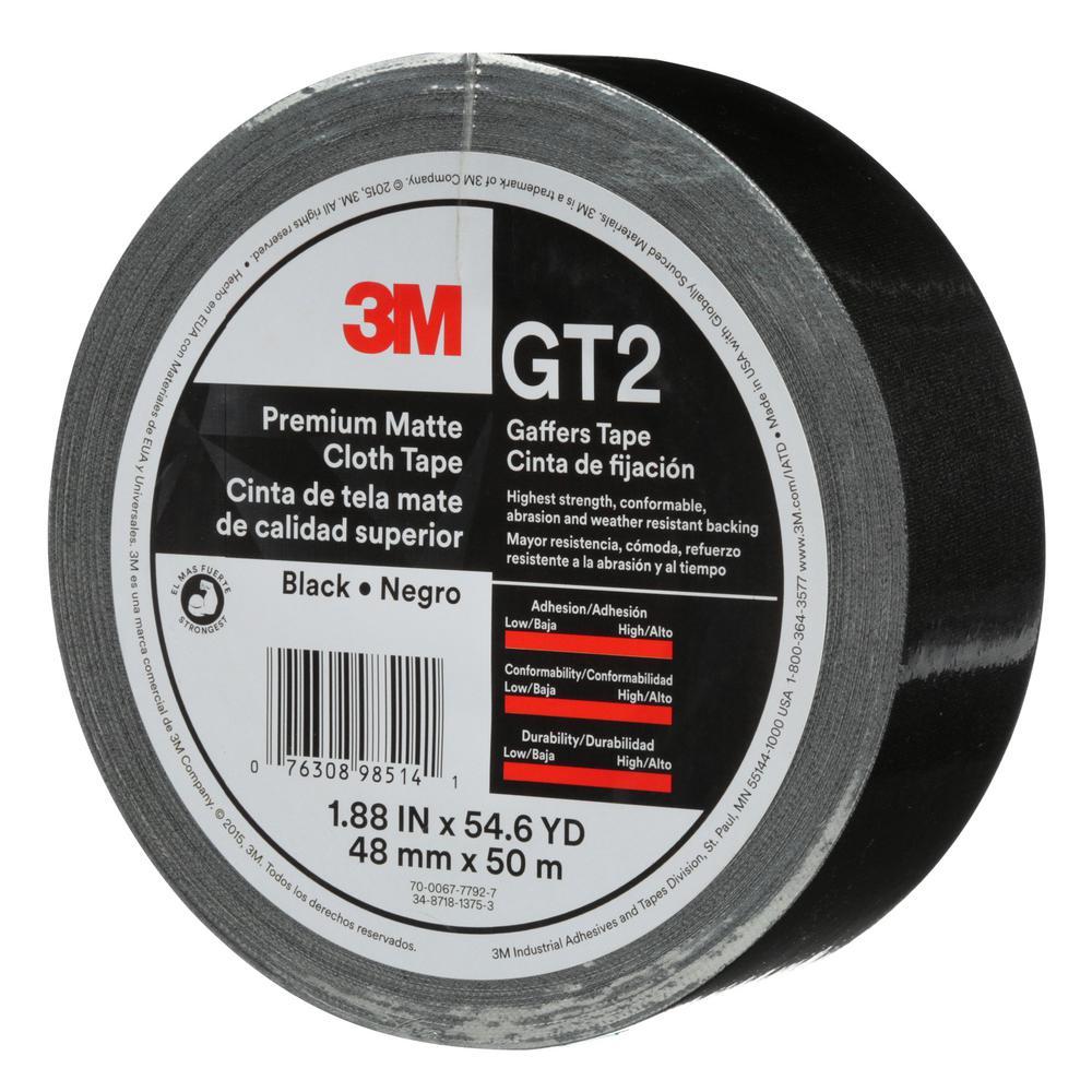 1.88 in. x 54.6 yds. Black Premium Matte Cloth Gaffers Tape