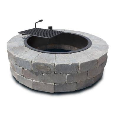 Grand 48 in. Fire Pit Kit in Bluestone with Cooking Grate