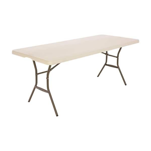 Lifetime 6 Ft Nesting Folding Table Almond 80456 The Home Depot