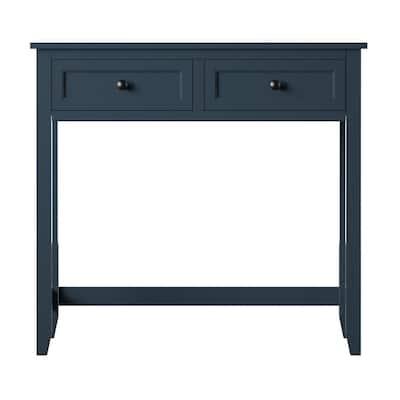 40 in. Rectangular Fontana Blue Faux Wood Secretary Desk with Power