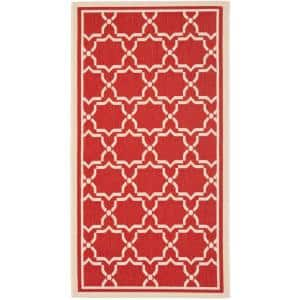Courtyard Red/Bone 3 ft. x 5 ft. Indoor/Outdoor Area Rug