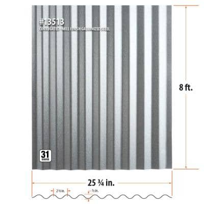 8 ft. Corrugated Galvanized Steel Utility-Gauge Roof Panel
