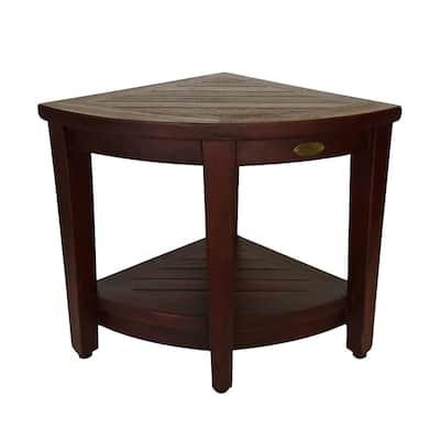 Oasis Teak Corner Shower Bench with Shelf