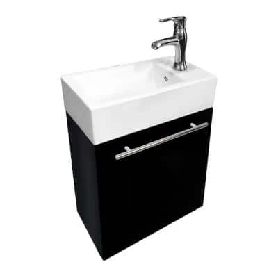 Dandi 17-3/4 in. Wall Mounted Vanity Combo in Black with Ceramic Sink in White with Overflow Towel Bar Faucet Drain