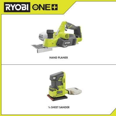 18-Volt ONE+ Cordless 3-1/4 in. Planer and 1/4 Sheet Sander with Dust Bag (Tools Only)