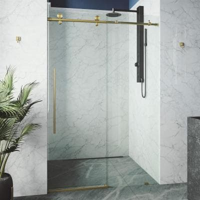 Elan E-Class 56 to 60 in. W x 76 in. H Sliding Frameless Shower Door in Matte Gold with Clear Glass