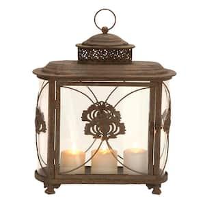 Brown Metal Rustic Candle Lantern