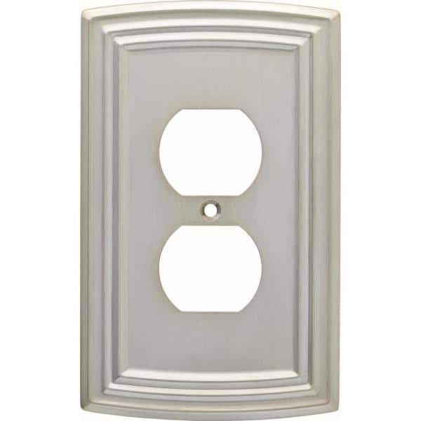 Hampton Bay Nickel 1 Gang Duplex Outlet Wall Plate 1 Pack W36397 Sne U The Home Depot