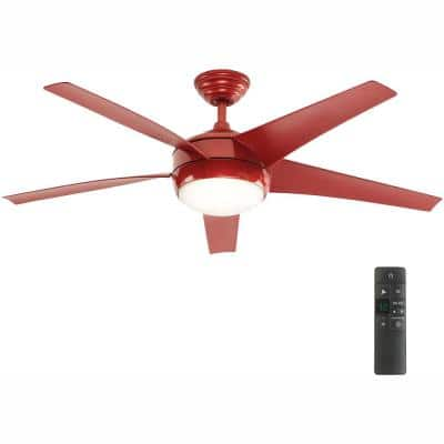 Windward IV 52 in. LED Indoor Red Ceiling Fan with Light Kit and Remote Control