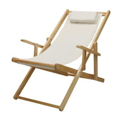 Natural Frame and Natural New Canvas Solid Wood Sling Chair, Folding Chairs