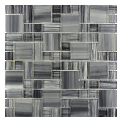 Handicraft Magic Calligraphy Gray Versailles Mosaic 12 in. x 12 in. Glass Wall and Pool Tile (1.05 Sq. ft.)