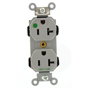 20 Amp Lev-Lok Modular Wiring Device Hospital Grade Extra Heavy Duty Self Grounding Duplex Outlet, Gray