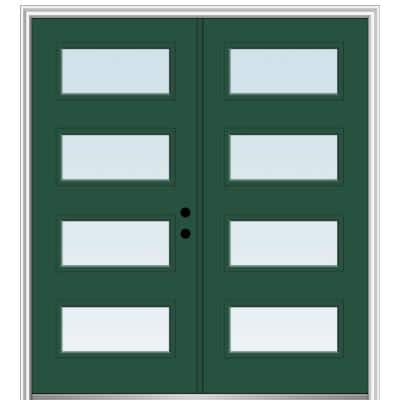 64 in. x 80 in. Celeste Left-Hand Inswing 4-Lite Clear Low-E Painted Fiberglass Smooth Prehung Front Door