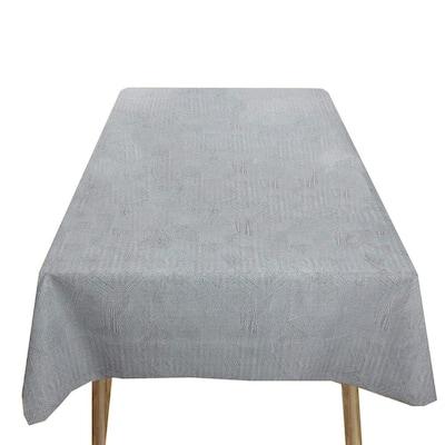 55 in. in. W x 78 in. L Grey Waterproof Vinyl Tablecloth