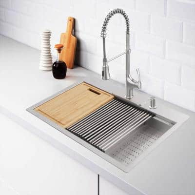 All-in-One 18 Gauge Stainless Steel 33 in. Double Bowl R0 Drop-In Workstation Kitchen Sink with Faucet and Accessories