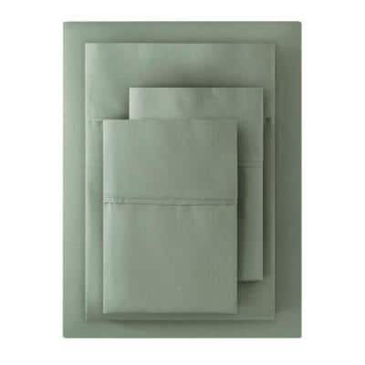 300 Thread Count Wrinkle Resistant Cotton Sateen 4-Piece Queen Sheet Set in Willow Green