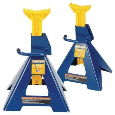 6-Ton Heavy-Duty Jack Stands Pair with Formed Steel Frame Base and Ratcheting Bar