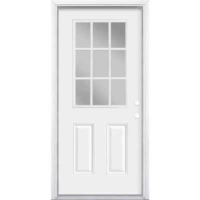 36 in. x 80 in. Premium 9 Lite Primed White Left Hand Inswing Steel Prehung Front Exterior Door with Brickmold