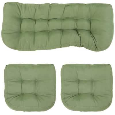 3-Pieces RectangleTufted Olefin Loveseat Indoor/Outdoor Settee Cushion Set in Green