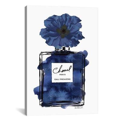 """Perfume With Black & Blue Flower"" by Amanda Greenwood Canvas Wall Art"