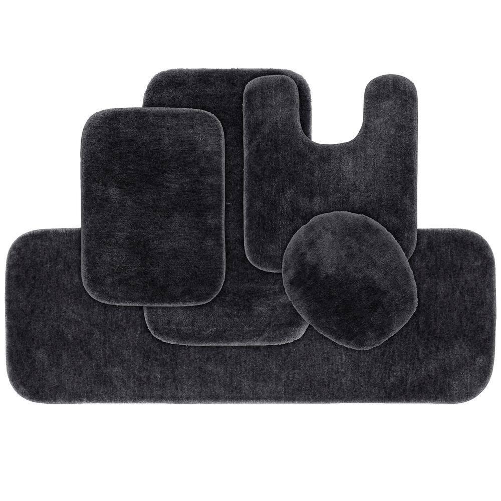 Garland Rug Traditional Dark Gray 5, Five Piece Bathroom Rug Sets