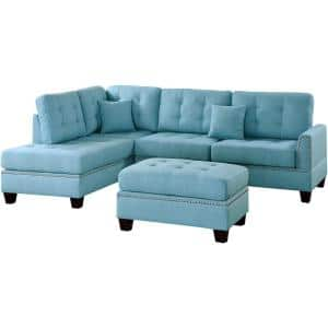 Barcelona Blue Polyester 6-Seater L-Shaped Sectional Sofa with Ottoman