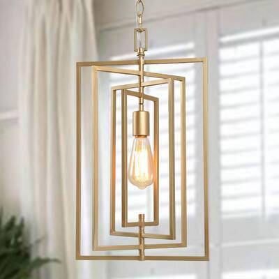 Modern Gold Geometric Pendant Light Geomes 1-Light Rectangle Industrial Pendant Light