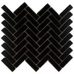 Metro Brick Herringbone Matte Black 12-1/2 in. x 10-5/8 in. Porcelain Mosaic Tile (9.43 sq. ft./Case)
