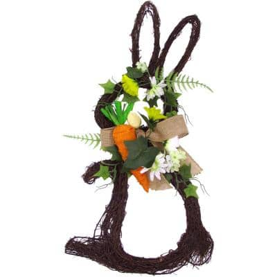 18 in. Artificial Twig Bunny Wreath with Tulips and Carrot