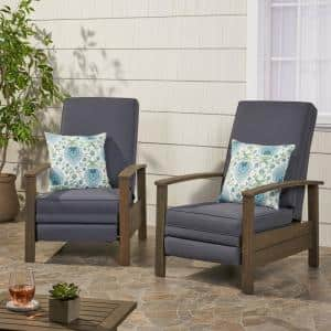 Roslyn Grey Push Back Recline Wood Outdoor Recliner with Dark Grey Cushion (2-Pack)
