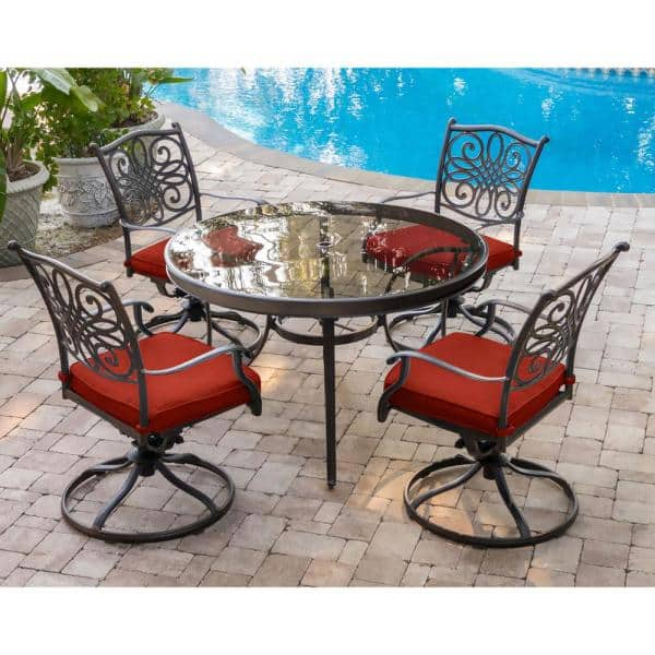 Swivel Chairs With Red Cushions, Red Patio Table Set