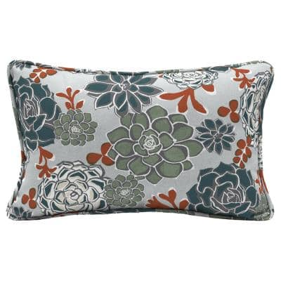 Shadow Gray Succulents Lumbar Outdoor Throw Pillow (2-Pack)