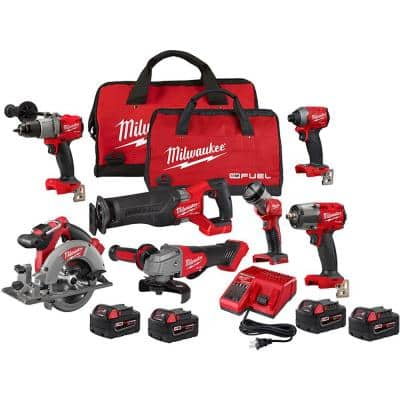 M18 Fuel 18-Volt Lithium-Ion Brushless Cordless Combo Kit (7-Tool) with 5.0 Ah Battery Pack (2-Pack)
