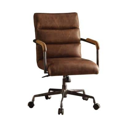 Harith 22 in. Width Standard Retro Brown Leather Executive Chair with Adjustable Height