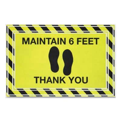 """Message Black/Yellow 24 in. x 36 in. """"Maintain 6 Feet Thank You"""" Commercial Floor Mat"""