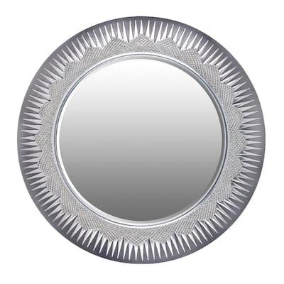 Medium Round Gray Contemporary Mirror (24.75 in. H x 24.75 in. W)