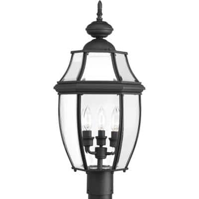 New Haven Collection 3-Light Textured Black Clear Beveled Glass New Traditional Outdoor Post Lantern Light