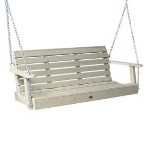 Weatherly 60 in. 2-Person Whitewash Recycled Plastic Porch Swing