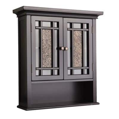 Winfield 22 in. W x 24 in. H x 7 in. D Bathroom Storage Wall Cabinet with Mosaic Glass in Espresso