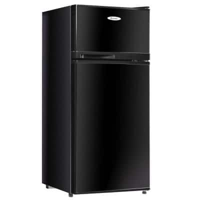 3.4 cu. ft. Unit Stainless Steel Compact Mini Fridge Freezer Cooler 2 Doors in Black