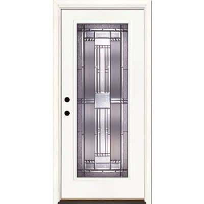37.5 in. x 81.625 in. Preston Patina Full Lite Unfinished Smooth Right-Hand Inswing Fiberglass Prehung Front Door