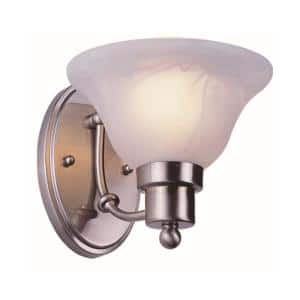 Perkins 1-Light Brushed Nickel Wall Sconce with Marbleized Glass